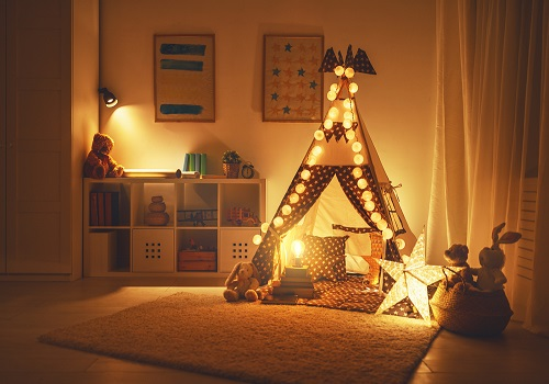 kids room with tent and lights