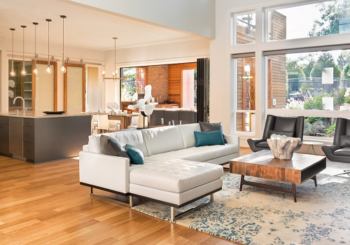 well lit open floor plan living room